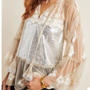 Anthropologie Rina Dhaka Ana Sequined Blouse 1X
